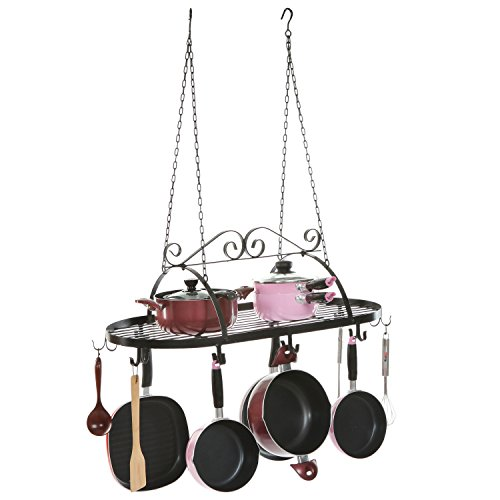 Designer Black Scrollwork Metal Ceiling Mounted Hanging Kitchen Utensils, Pots, Pans Holder Hanger Rack