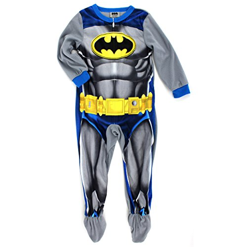Batman Boys Fleece Blanket Sleeper Pajamas Union Suit (4, Grey Batman Costume)