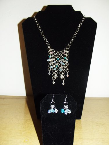 CASCADE (3-PIECE SET - NECKLACE AND EARRINGS) - AUTHENTIC CRYSTAL, HANDMADE CHAIN AND CHAINMAIL DESIGN