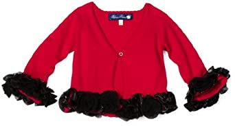 Blue Pearl Baby-girls Infant Ruffle Sweater Cardigan with Flower Trim, Red, 24 Months