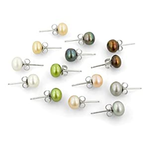 White, Champagne, Platinum Grey, Chocolate Brown, Peach, Peacock and Green Button Freshwater Cultured Pearl Stud Earrings with Sterling Silver Clasp, Set of 7