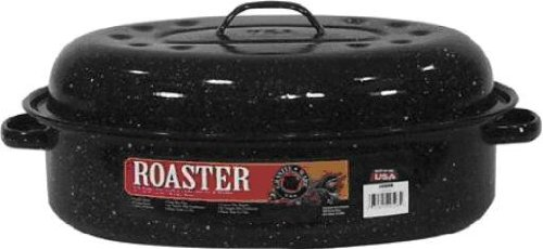 Granite Ware Covered Oval Roaster 15, Black