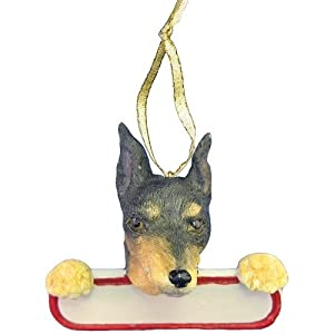 Miniature Pinscher Black Dog Santa's Pal Christmas Ornament