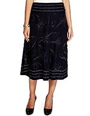 Per Una Floral Appliqué Textured Skirt [T62-7500J-S]
