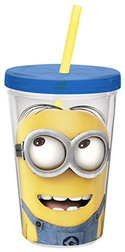 Zak! Designs Insulated Tumbler with Screw-on Lid and Straw and Despicable Me 2 Minions Graphics, BPA-free Plastic, 13-ounce - 1