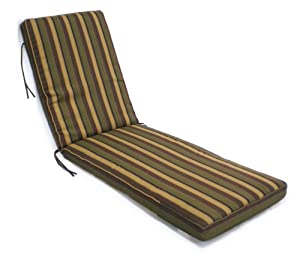 Box walt chaise cushion black olive gold for Black and white striped chaise lounge cushions