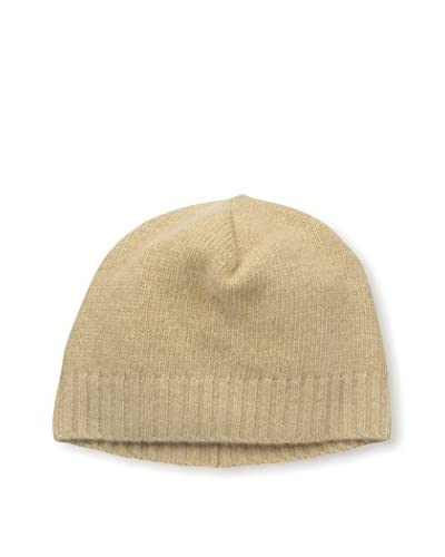 Portolano Men's Cashmere Hat Skull Cap with Ribbed Cuff, Camel