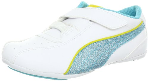 PUMA Tallula Glamm V Fashion Sneaker (Toddler/Little Kid/Big kid),White/Blue Curacao/Aurora,7 M US Toddler