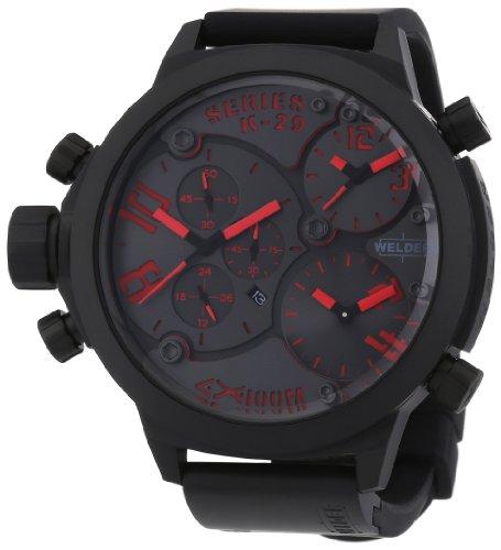 Welder K29 - Reloj cronógrafo unisex de cuarzo con correa de goma negra - sumergible a 100 metros