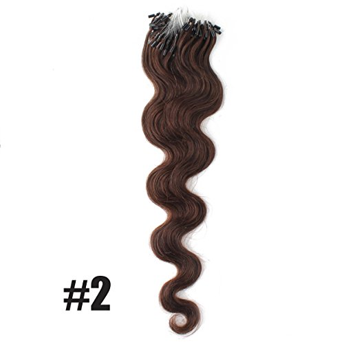 """Yewig 20"""" Loop Micro Ring Beads Tipped Remy Body Wave Wavy Curly 100% Real Human Hair Extensions 100s 1g/s #2 Dark Brown"""