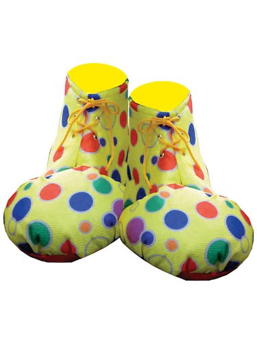 Adult Clown Shoe Covers - Yellow Polka Dot
