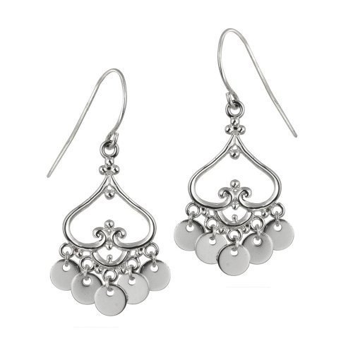 Sterling Silver Polished Fancy Drop French Wire Earrings