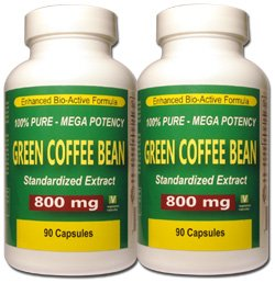 Green Coffee Bean Extract Mega Potency 800 mg Twin Pack 90 Vegetarian Capsules Per Bottle 180 Total 100 Pure All Natural Formula No Additives or Fillers Best Value Fast