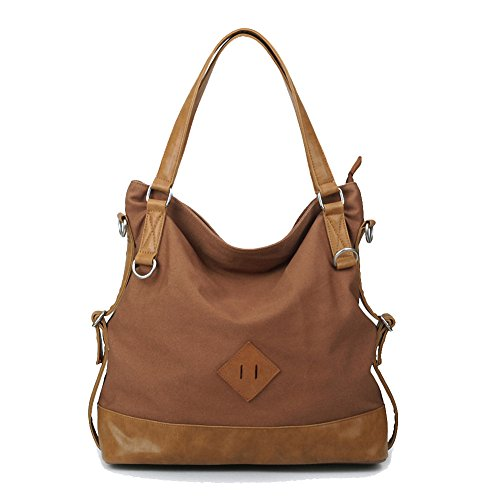 Kaylena 防水帆布バッグ 多機能 女性用 2way ハンドバッグ コーヒー色