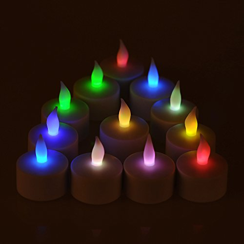 Weanas® 12Pcs Rechargeable Led Tea Light Tealights Candles Multi Color With Cup Ac Charger Flickering Flameless For Emergency Christmas Birthday Wedding Party