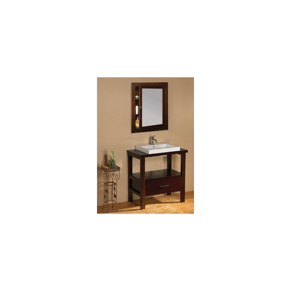 Wood Top Ceramci Vessel Sink And Matching Medicine Cabinet