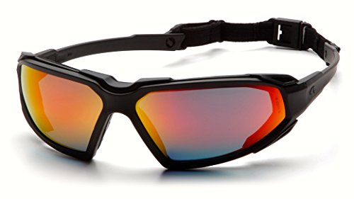 Pyramex Highlander Safety Eyewear, Black Frame/Sky Red Mirror Anti-Fog Lens