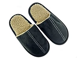 Boys Microsuede Scuff Slippers with Contrast Sherpa, Black, Medium
