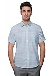 Pearl Blue and Grey Chekered Shirt for Friday dressing or evening with friends