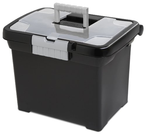 Sterilite Portable File Box Black Lid and Base See-Through Storage Lid with Titanium Handle and Latch 4-Pack