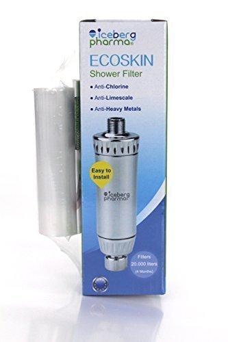Filtro doccia e vasca da bagno, anti-cloro e anti-calcare, con cartuccia 4 mesi, ECOSKIN + Cartuccia