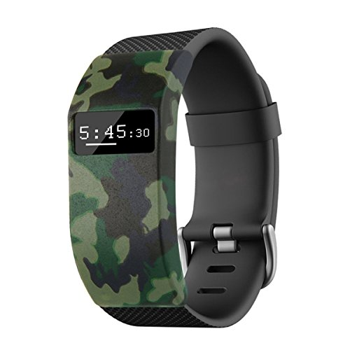 Moonmini Fitbit Charge HR band cover, camouflage soft silicone case