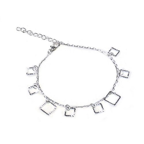BestDealUSA Beautiful 925 Silver Personality Squares Shape Bracelet