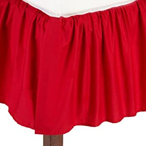 American Baby Company 100% Cotton Percale Ruffle Crib Skirt, Red