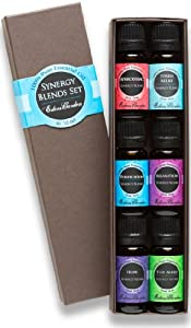 Synergy Blends- (Aphrodisiac, Stress Relief, Purification, Relaxation, Hope and Stay Alert) Top 6 Basic Therapeutic Grade Aromatherapy Sampler Pack 100% Pure Therapeutic Grade Essential Oil Gift Set- 6/10 ml