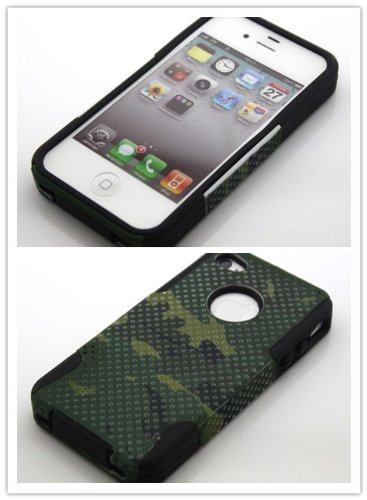 Big Dragonfly High Quality New Dual Layer (Silicone + Plastic) Protective Shell Hybrid Below Case Cover For Apple Iphone 4 4S With Military Camouflage Design & Small Holes Eco-Friendly Package Black + Army Green (Great Texture) front-855852