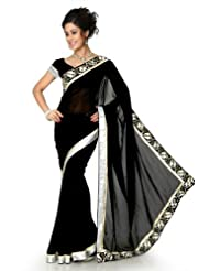 Designersareez Women Faux Georgette Embroidered Black Saree With Unstitched Blouse(1297)