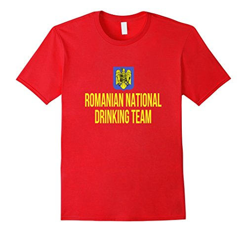 Men's Romanian National Drinking Team| National Pride Beer T-shirt Large Red (Romanian Beer compare prices)