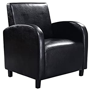 Giantex Black PU Leather Leisure Chair Arm Modern Comfortable Furniture Home Office