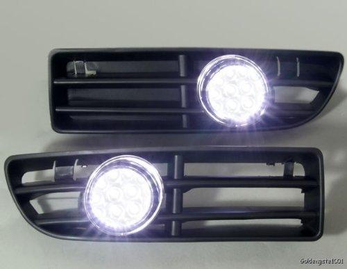 Led Fog Light Grilles White For Volkswagen 99 To 04 Jetta Bora Mk4