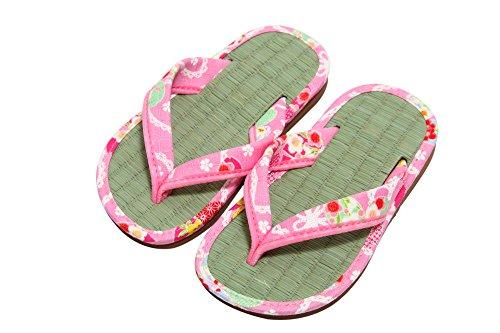 和柄 キッズ 子供 畳 サンダル 雪駄 日本製 ピンク Mサイズ
