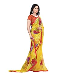 Indian Designer Sari Lovely Floral Printed Faux Georgette Saree By Triveni