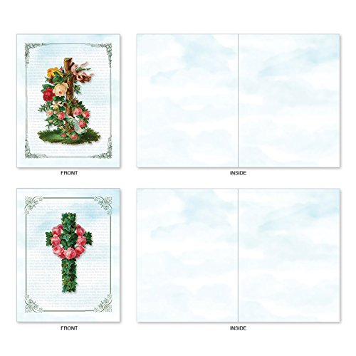 M6466OCBsl Cross Cards: 10 Assorted Blank All-Occasion Note Cards Featuring Lovely Crosses Surrounded by Floral Sprays and Set Against Newspaper Print Backgrounds, w/White Envelopes.