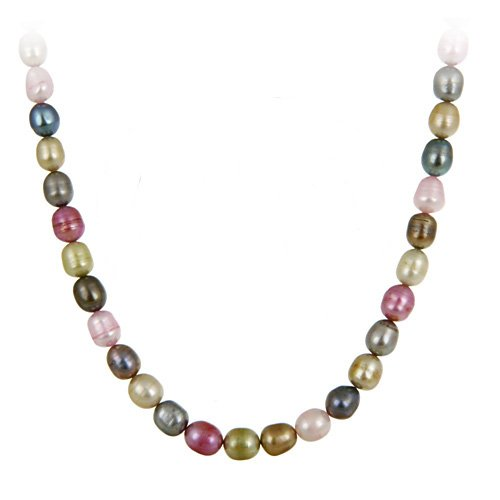 Genuine Freshwater Cultured 8x10mm Multi Colored Pearl Necklace, 60 Inches
