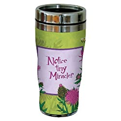 Tree-Free Greetings sg23483 Zen Thistle Miracles by Robin Pickens Sip N Go Stainless Steel Tumbler 16-Ounce