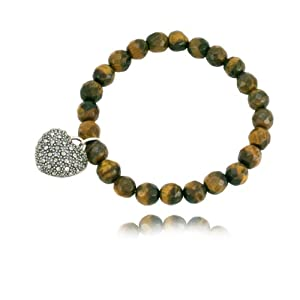 Sterling Silver Marcasite Faceted Tiger's Eye and Heart Stretch Bracelet, 8""