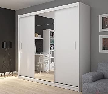 FADO extra large 235 cm white mirrored 3 door wardrobe closet with sliding doors mirrors shelves drawers hanging clothes rail bedroom hallway furniture