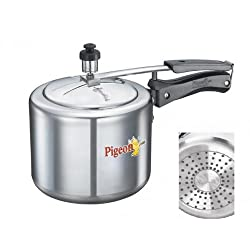 Pigeon CaIida Induction Base Aluminium Pressure Cooker with Inner Lid, 3 Litres