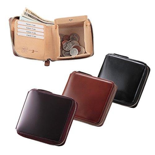 財布 二つ折り メンズ Men\'s コードバン ラウンドファスナー二つ折り財布 69005 馬革(ブラック)