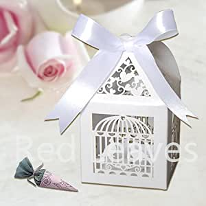 Wedding Gift Boxes Amazon : Amazon.com : 50pcs Laser Cut Wedding Birdcage Favor Box for Candy ...