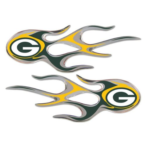 Green Bay Packers NFL Micro Flames Auto Decal 2 Pack