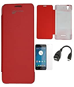 JMA Premium Flip Cover Case For Micromax Canvas Yu Yureka Aq5510 - Red with Screen Guard and Usb Otg Cable