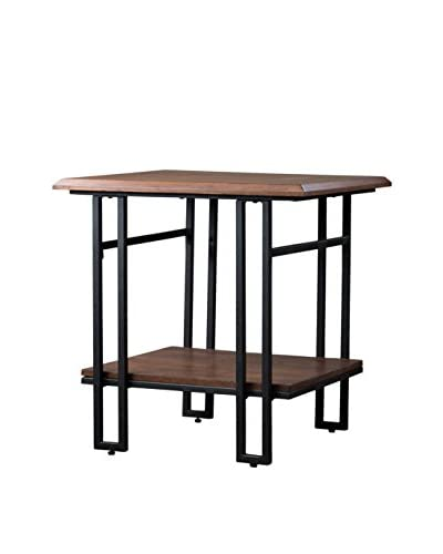 Baxton Studio Newcastle Wood & Metal End Table, Brown/Antique Bronze