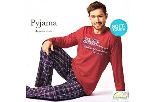 Herren Flanell Pyjama Schlafanzug Nachtwäsche Oberteil + Hose S M L XL XXL (L 44/46, Rot)