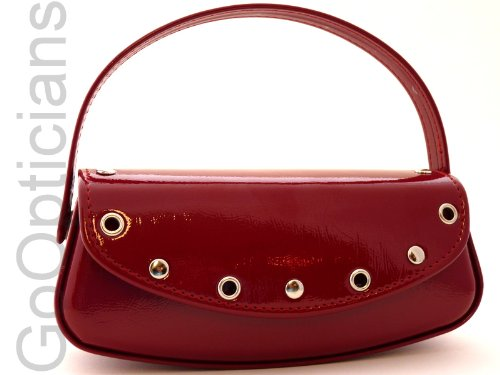 Large Studded Clutch Handbag Glasses Case For Ladies Spectacles (Red)