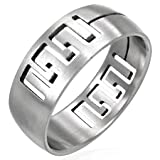 New Gents Stainless Steel Band Ring With Laser Cut Greek Key Design, 8mm Wide.